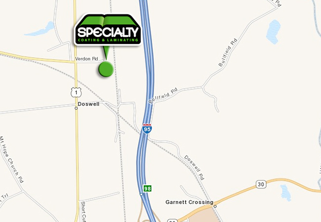 Map of Specialty Coating & Laminating's Location in Doswell, VA